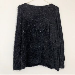 Black glitter fur sweater | NY Collection | woman